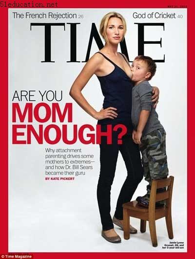 《时代》封面登三岁男童吃母乳照惹争议
